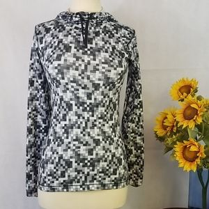 NIKE top SMALL black&white print HOODED PULLOVER